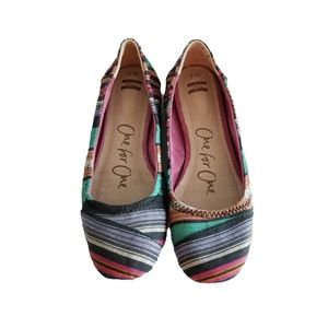Toms One for One Rainbow Striped Flats Size 7